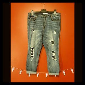 Plus Ripped Skinny Fishnet Jeans